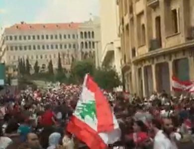 הפגנות האזרחים ברחבי לבנון   צילום מסך CNN