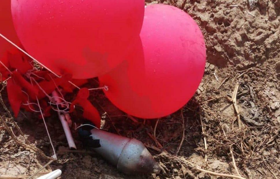 עשרות בלוני נפץ הופרחו מעזה לעבר ישראל צילום: דוברות המשטרה