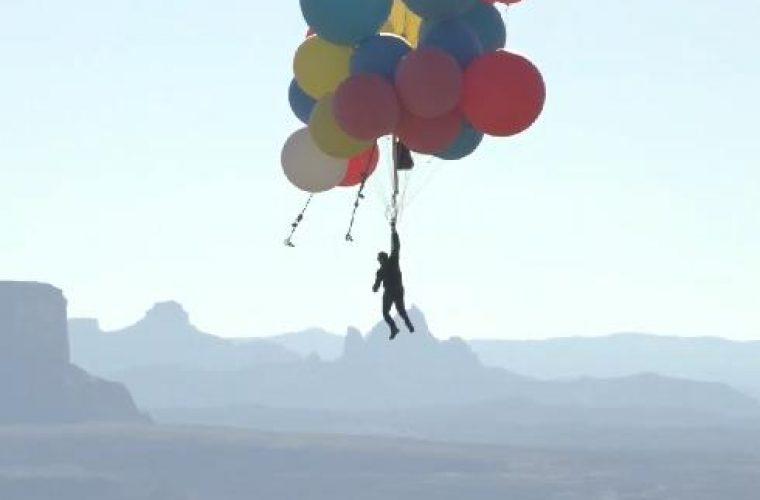 בליין מרחף באמצעות הבלונים | (צילום מתוך יוטיוב)