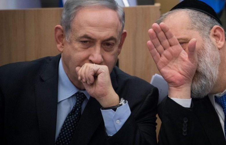 שר הפנים אריה דרעי וראש הממשלה נתניהו ממתיקים סוד, צילום יונתן סינדל פלאש 90