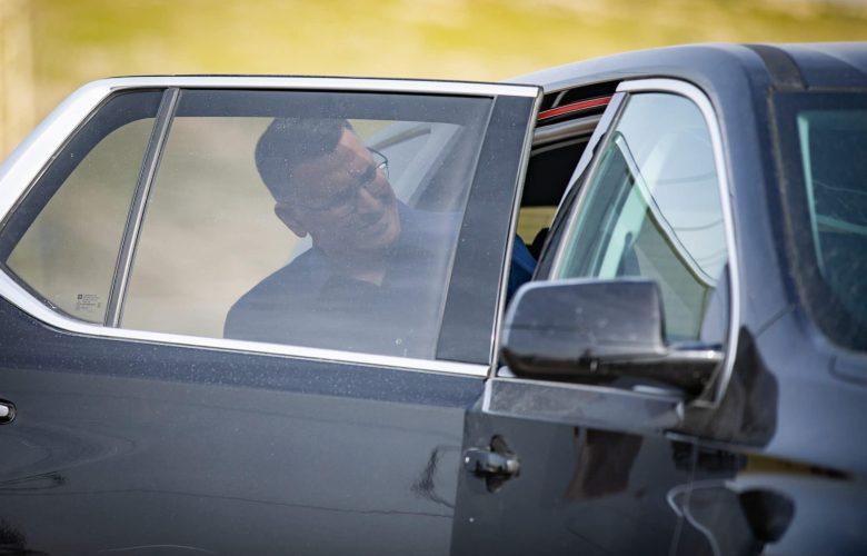 Head of New Hope party Gideon Saar at a conference of the Srugim news website above the  Bedouin village Khan al-Ahmar in the West Bank on March 21, 2021. Photo by Yonatan Sindel/Flash90 *** Local Caption *** כנס סרוגים פוליטיקה בחירות מדברים גדעון סער תקווה חדשה מנהיג