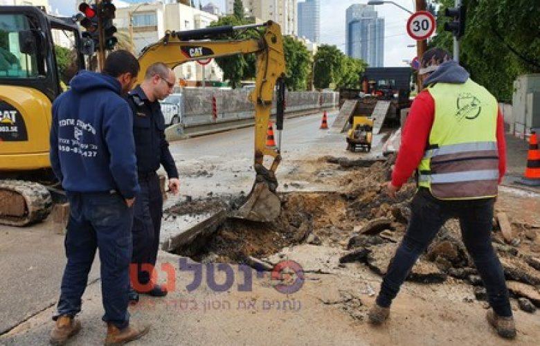 הכביש שקרס ברחוב ארלוזורוב בתל אביב