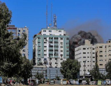 מגדל התקשורת בעזה | צילום: עטיה מוחמד, פלאש 90